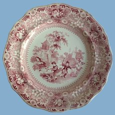 English Staffordshire Red Transferware Plate    Davenport 1820-1860