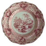 English Staffordshire Red and White Transfer Ware 10 1/2 Inch Plate           Davenport