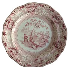 English Staffordshire Red and White Transfer Ware Plate   Davenport, 1820-1860