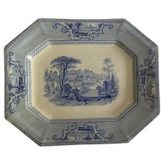 "English Light Blue Transfer Ware Ridgway Platter, ""Palestine""  C. 1841"