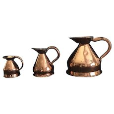 Victorian English Copper Jug Measurement set, 1860