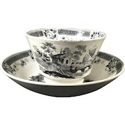 English Black and White Transfer Handleless Cup and Saucer Set