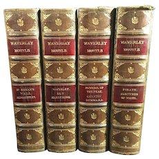 Set of Four Waverley Novels Leather Bound