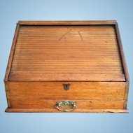 English Oak Tambour Front Stationary Cabinet, c. 1880