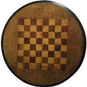 English Vintage Wooden Round Checker/Chessboard