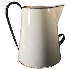 C. 1900-1930 English Graniteware Pitcher Water Jug