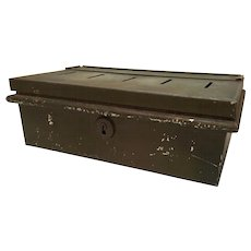 Vintage Metal Cash, Coin Box Army Green Paint