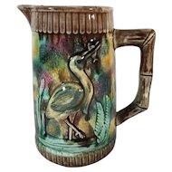 Majolica Pitcher 'Stork-in-the-Marsh'