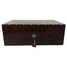 Early Victorian Amboyna Writer's Box, Lap Desk, Slope: Mother of Pearl & Stringing Inlay