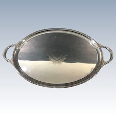 Large English  Silver Plate Antique Salver  c. 1915