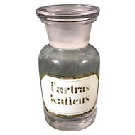 English 1880's Apothecary Jar, 'Tartas Kalicus'