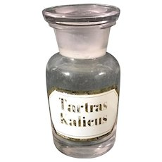 English 1880's Apothecary Jar, 'Tartas Kalicus'