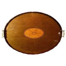 C.1850 English Mahogany Tray Salver Inlaid Fan Gallery Brass Handles, 24 x 18 inches