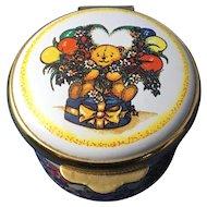 """English Enamel Trinket Box, 'Happy Birthday"""""""