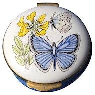 Crummles & Co Vintage Enamel Trinket Box , 'Butterflies and Flowers'