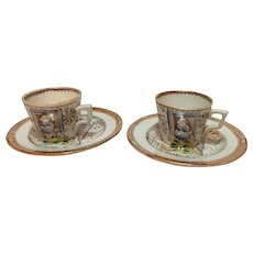 1870-1880 Child's English Tea Ware, 2 Cups & 2 Plates