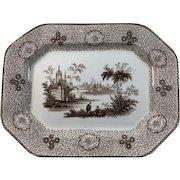 1860 English Staffordshire Brown Transfer ware Platter