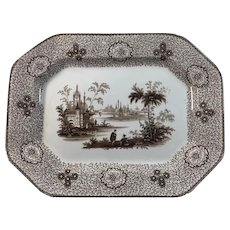 1860 English Staffordshire Brown Transfer ware Platter