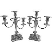English Silver Plated Candelabras, C.1950