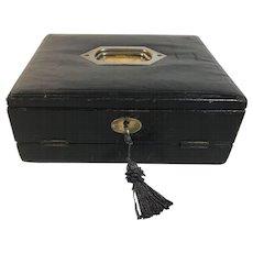 English Leather Writer's Box, Lap Desk, Slope, Brass Handle