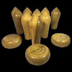 Northamptonshire Boxwood Skittle Pins and Cheeses with Original Tin - Red Tag Sale Item