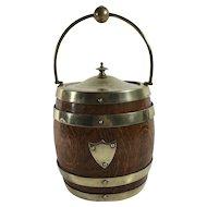 Vintage Oak Biscuit Barrel with Porcelain Liner