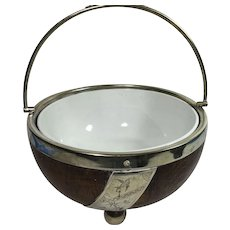 English Turned Oak Fruit Bowl with Porcelain Liner, Engraved Silver Plate , Nickel Silver Rim,