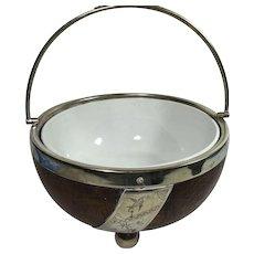 English Turned Oak Fruit Bowl with Porcelain Liner, Engraved Silver Plate , Nickel Silver Rim,