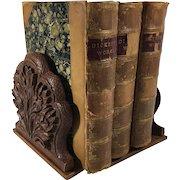 Carved Set of Bookends in Floral Design
