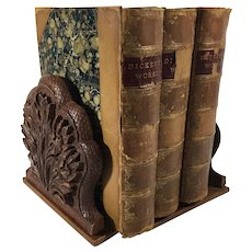 Carved Set of Bookends in Floral Design