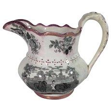 1840 English Lusterware Transfer Ware Jug