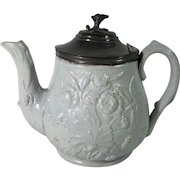 C.1860 English Tea Pot, Moulded Design, Pewter Lid