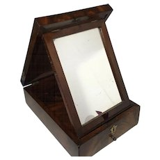English Gentleman's Flame Mahogany Shaving Box with Mirror and Full Drawer