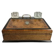 19th Century English Burr Walnut Writer's Desk, Lap Desk, Slope, Brass Inlay