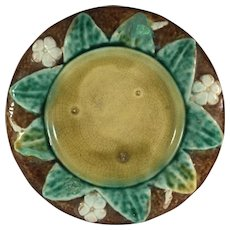 Majolica Sunflower and Dogwood Molded Plate