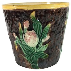 Majolica Garden Pot Decorated with Tulips and Moss