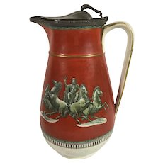1850 English Jug with a Pewter Lid