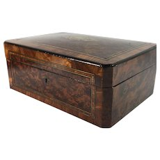 19th Century English Burr Walnut Inlaid Work or Keeping Box