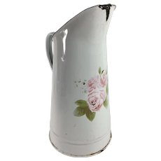 Early 1900s French Enamel Ware Pitcher with Stenciled Roses