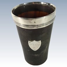 1846 Exeter Hallmarked Horn Cup, Sterling Lip and Shield