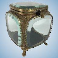 French Beveled Glass Jewelry Casket, C. 1900