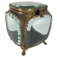 French Beveled Glass Jewelry Casket, C. 1900.  (French)