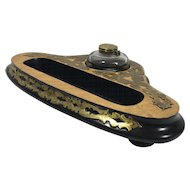 Victorian  Inkstand with Brass Carved Design & Ink Bottle, Desk Set