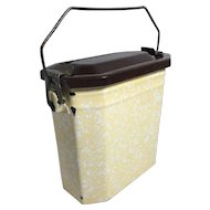 French Enamelware Graniteware Lunch Pail Box in Yellow, White and Brown