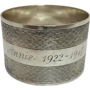 """English Sterling Silver Napkin Ring, Engraved """"Annie 1922- 1947"""""""