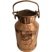 Antique English Country Copper Farm Milk Can Jug