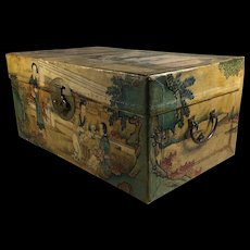 C. 1850-1920 Chinese  Keeping Wooden Box, Brass Handles and Lock