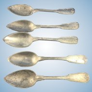 French Pewter Large Spoons of an Old Cutlery Flatware Set, 19th c.