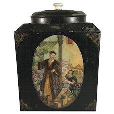 19th c. English Toleware Tea Storage Tin