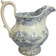 C. 1841 English Light Blue Transfer Ware Jug